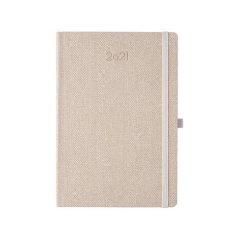 """Ημερήσιο Ημερολόγιο 2021 """"Tweed"""" 14x21cm Μπεζ"""