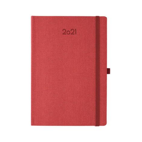 """Ημερήσιο Ημερολόγιο 2021 """"Tweed"""" 17x24cm Κόκκινο"""