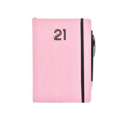 """Ημερήσιο Ημερολόγιο 2021 """"Kashmir"""" Λάστιχο 10x14cm Ροζ"""